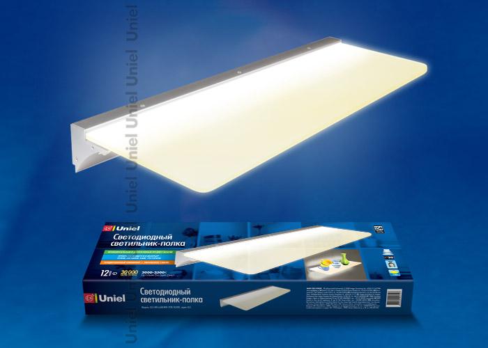 07741 - купить Uniel Стеклянная полка со светодиодной подсветкой алюминий, цвет серебро теплый белый по цене 2572.63 руб./шт.